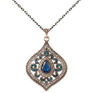 ❗ONLY 4 LEFT❗Vintage Blue Crystal Pendant Necklace